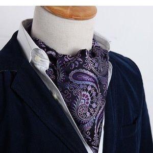 Purple paisley ascot